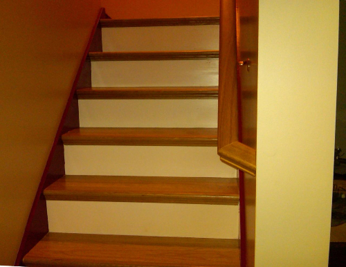 Staircase Remodeled With White Oak Treads In New York
