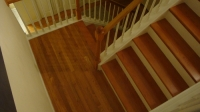 Carpeted Townhome Stairs Refinished with Butterscotch Oak Treads