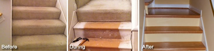 Before After NuStair Remodel Process- Stair Parts and Refinishing